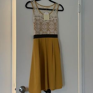 NWT Yellow and cream lace dress Size M